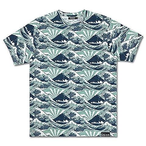 Pink Dolphin Men's Tidal Layering SS T Shirt White/Blue 2XL