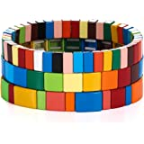 Rainbow Tile Bracelet Colorful Enamel Tile Tila Beaded Bracelet Bohemia Elastic Stretch Bracelet Colorblock Stackable Strand