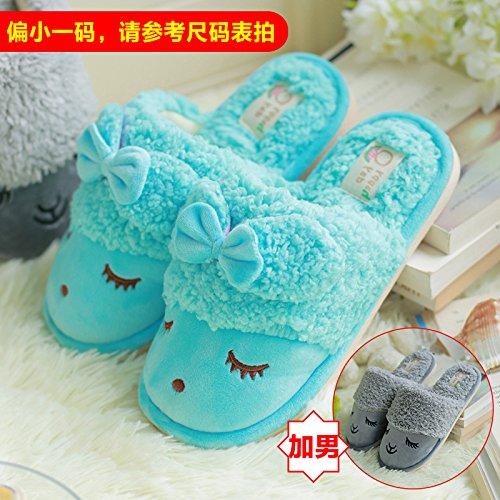 DogHaccd pantofole,Il cotone pantofole coppie femmina di rimanere a casa il anti-slittamento bella spessa caldo inverno pantofole maschio Il blu + grigio1