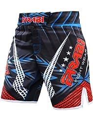 Farabi MMA boxeo Kickboxing, Muay Thai y artes marciales Mix jaula lucha entrenamiento de gimnasio desgaste ropa pantalones cortos troncos, color rojo y negro, tamaño XL