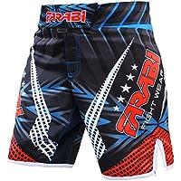 Farabi MMA Boxeo Kickboxing Muay Thai Mix Artes Marciales Jaula de Lucha Agarre Entrenamiento Gimnasio Ropa Pantalones Cortos Truncos (Rojo Negro, Pequeño)