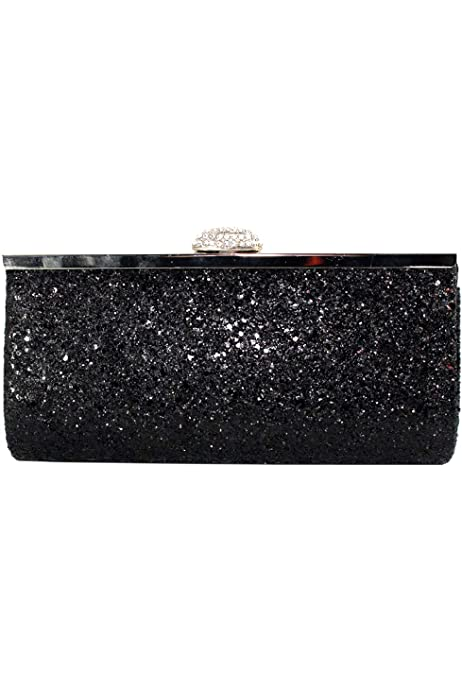 Womens Clucth Bag Glitter Sparkly Satin Silver White Bridal Prom Party Purse UK