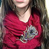 SODIAL Femmes Vintage plume broche broche Antique cristal strass bijoux accessoire