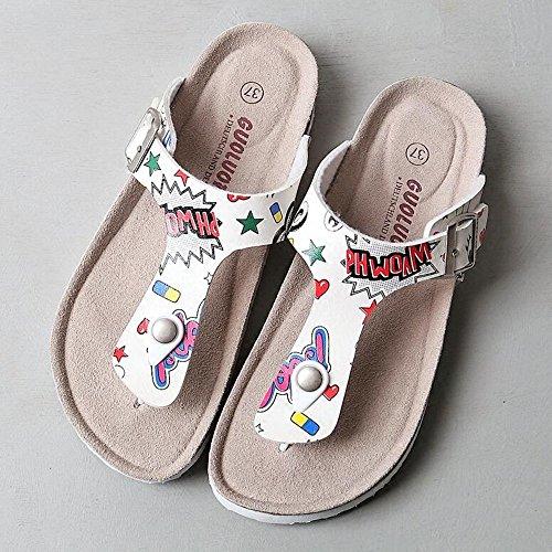 Estate Sandali Pattini freddi del nuovo sughero stampato di modo di estate Scarpe casuali della spiaggia della donna Colore / formato facoltativo #1
