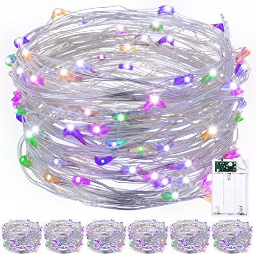 warmoon  Starry String Lights, 33ft 100 LEDs RGB Waterproof Battery Operated String Light Ambiance Lighting for Outdoor, Gardens, Homes, Dancing, Christmas Party (Pack of 6)