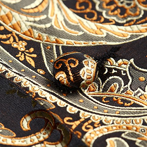 hisdern Ensemble de Cachemire Jacquard Gilet sans manches pour homme Multicolore - Gold/ Brown
