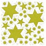 Weihnachts-Fensterbilder Haftfolie Sterne gold