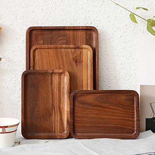 XBR schwarze walnussholz tablett square hölzernen platte japanischen schwarze nussbaum mit tee - tablett,zusammenfügen lack 30 * 20 * 2 (Nussbaum Körbe)