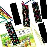 Sgraffito-Lesezeichen - scratch art mit Regenbogenfarben für Kinder zum Basteln (12 Stück) -