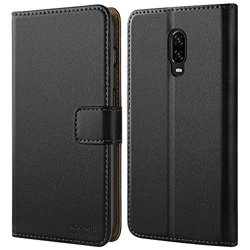 HOOMIL Handyhülle für OnePlus 6T Hülle, Premium Leder Flip Schutzhülle für OnePlus 6T Tasche, Schwarz