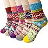 Justay 5 Paar Winter Wolle Damen Socken, Bunte Gemusterte Stricksocken