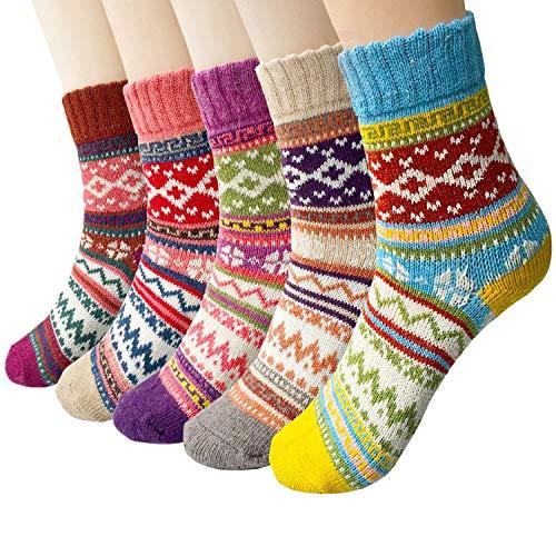 Justay 5 Paar Winter Wolle Damen Socken, Bunte Gemusterte Stricksocken MEHRWEG