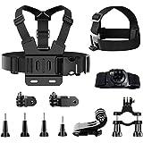 TDCQ 11pcs Kit di Accessori per Action Camera,Fascia da Testa per Action Cam,Fascia da Testa per Cellulare,Fascia da Testa pe