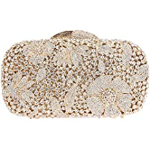 Bonjanvye Bling Studded Flower Evening Purse Cocktail Crystal Evening Clutch Bags