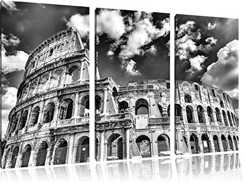 Pixxprint Colosseum bei Tag in Rom als Leinwandbild | Größe: 3 Teilig (120x80 cm) cm | Wandbild | Kunstdruck | fertig bespannt -