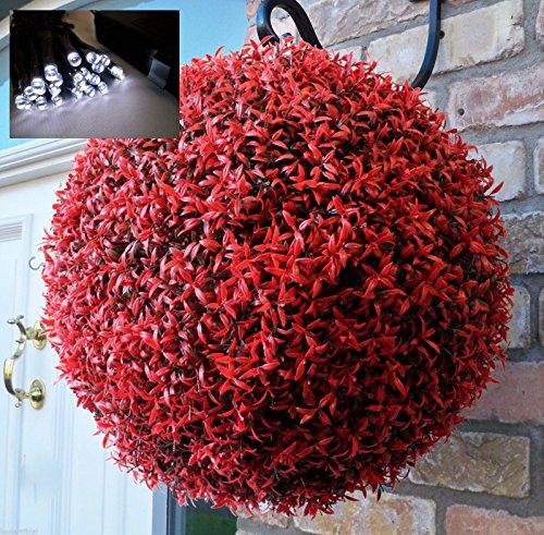 Best Artificial (TM) 40 cm Romarin à suspendre topiaire Boule de fleurs et 30 lumineux LED Blanc
