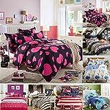 Tinksky 4 Stück Bettwäsche Bettdecken aus Baumwolle Bedspreads Quilt Sets für Hotel Home 1.8 Meter Multi Color -
