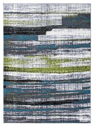 Hochwertiger Teppich LUXUS Modern Verschiedene Muster und Größen Grau Blau Grün (120x170)