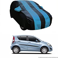 MotRoX Dual Tone Stripe Car Body Cover for Maruti Suzuki Ritz (Navy Blue with Royal Blue Stripe)
