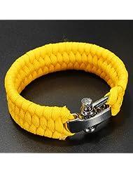 SODIAL(R) 7 Strand Supervivencia Militar pulsera de la cuerda de la armadura de la hebilla - Amarillo