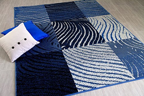 TrendLine - Tapis Moderne - Zèbre Carreaux Gris Bleu - 5 Tailles Disponibles
