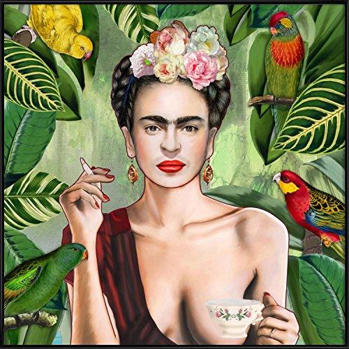 """JUNIQE® Bild mit Rahmen 50x50cm Frida Kahlo - Design """"Frida Con Amigos"""" (Format: Quadrat) - Wandbilder, Gerahmte Bilder & Gerahmte Poster von unabhängigen Künstlern - entworfen von Nettsch"""