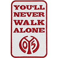 Aufnäher 1. FSV Mainz 05 You'll never walk alone - 5 x 8 cm + gratis Aufkleber, Flaggenfritze®