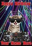 Katze Kätzchen j561Clubbing Cool DJ Fun Cute Happy Birthday A5personalisierbar Grußkarte geschrieben von uns Geschenke für alle 2016von Derbyshire UK