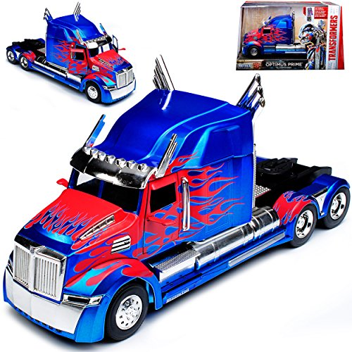 Western Star 5700 XE Phantom Optimus Prime Blau Transformers 5 The Last Knight 1/24 Jada Modell Auto (Optimus Prime Spielzeug Metall)