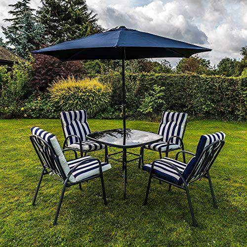 Kingfisher 6 Piece Navy Blue/White Padded Chairs x4, Glass Table & Parasol Garden Patio Furniture Set