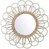 Maquillage Miroirs,Asseny Suspendu Miroir Rotin Tournesol Circulaire Miroir Mural Décor Boho Osier Coiffeuse Maquillage Miroi