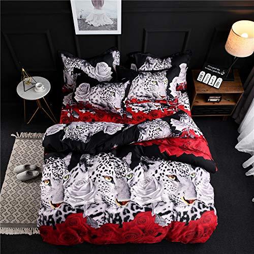 3D Leopard Pattern Reißverschluss Schließung Leichte Mikrofaser Easy Care Kinderbettwäsche Bettbezug & Kissenbezug Einzelgröße Doppelte King Size (200 x 220cm) ()