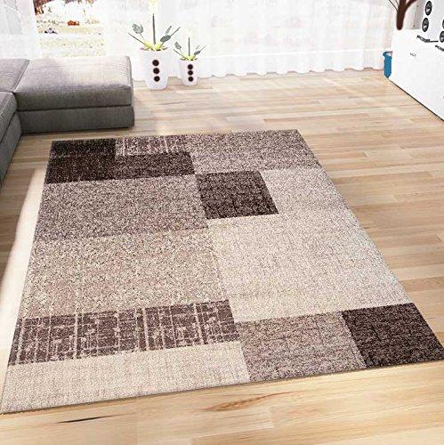 Wohnzimmer Teppich Kurzflor in Beige Braun Designer Teppiche Modern Kachel Optik Kariert Pflegeleicht 160x230 cm (Beige-braun-teppich)