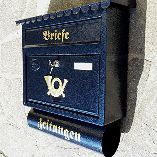 Großer Briefkasten / Postkasten XXL Blau / Dunkelblau mit Zeitungsrolle Flachdach Katalogeinwurf...