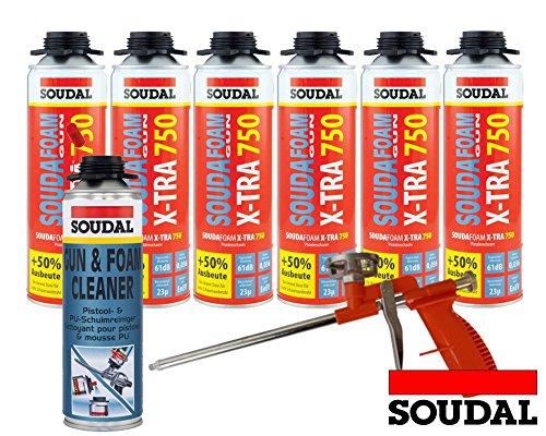 Soudal Kombi Set 6 x Soudafoam B2 X-TRA750 500ml Pistolenschaum Verfüllung Bauanschlussfugen inkl. Reiniger + Schaumpistole Compact- gebrauchsfertig, schall- und wärmedämmend