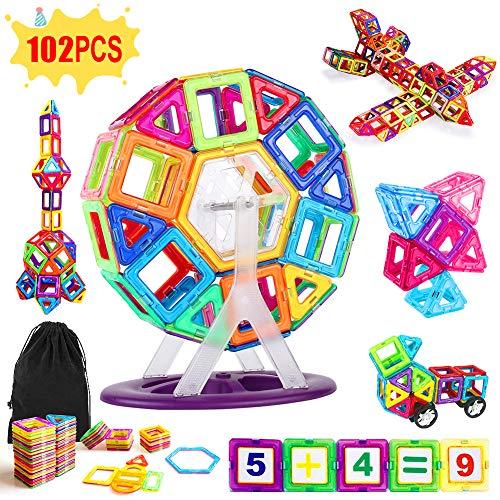 ANTOPM Educational Magnetische Bausteine Spielzeug Set für Kinder, Pädagogische Magnetische Bausteine Spielzeug Set für Kinder, Non Toxic ABS Magnetic Blocks (Multicolor, 102Pieces)