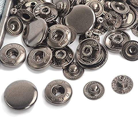 Gunmetal Black Pack 15 Completed Sets 10/12.5/15/17mm Snap Fasteners Poppers Press Studs For Clothing and Accessories - Press Studs for Adding Secure Closure to Jackets, Jeans, Bags, Straps and Other Sewing Projects - Popper for Clothes Repair (15 Sets 12.5mm) by ifsecond