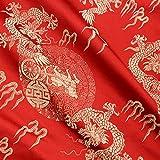 chinesischem Brokat-Stoff Dragon Design Kostüm DIY Seidiger Satin Retro 1m Tuch, Gold-Red, 1 m