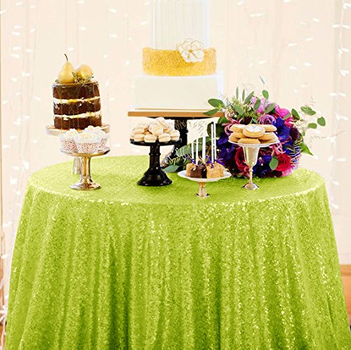 (DuoBao Lime Grün Tischdecke Pailletten Tischdecke Lime Grün Stoff Lime Grün 120Rund Tischdecken Tisch Linens)
