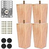 Xkfgcm 4 inch houten meubelpoten Set van 4 pootmontageplaten Bevestigingsplaten Bankpoten met ophangbouten Taps toelopende pi