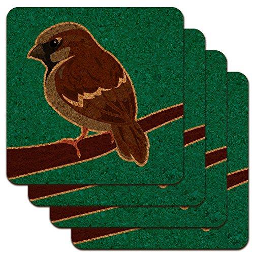 Sparrow Little Brown Vogel auf Stick Low Profile Neuheit Cork Untersetzer Set (Profil-stick)