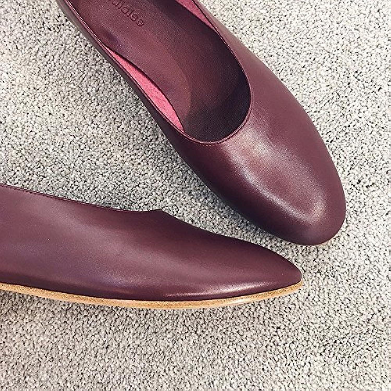 DHG Zapatos Planos Casual Ocasionales de Tacón bajo,Vino Rojo,37