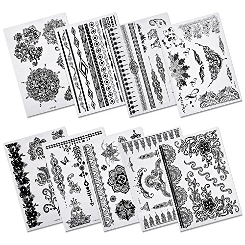 aboat-pack-of-9-sheets-henna-temporary-tattoo-black-art-sticker