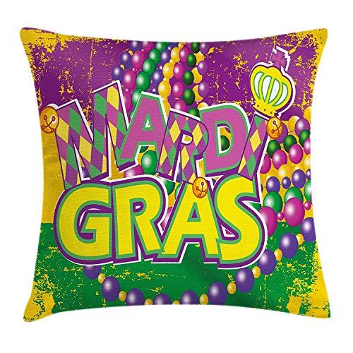 DDOBY Kissenbezug Mardi Gras Throw Pillow Hintergrund Grunge mit lebendigen Farben, Vintage-Karten, fröhlicher Druck, dekorativer Kissenbezug, quadratisch, Gelb Violett Grün (Um Mardi Gras Perlen)