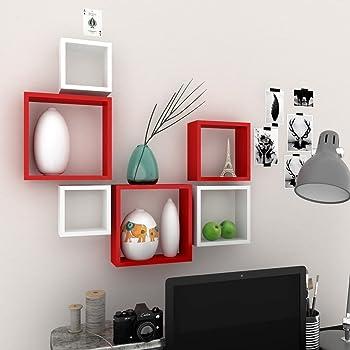 Decoration Shop Nesting Square Shelf Set of 6 Shelves (Red & White)