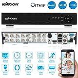 KKmoon DVR 16 Canales AHD HVR/ NVR Full 1080N/720P HDMI P2P, Grabador de Video Digital, Onvif, Soporta Disco Duro, Plug y Play, Android/iOS APP, Detección de Movimiento, Email Alarma, PTZ para 2000TVL CCTV Cámara de Vigilancia