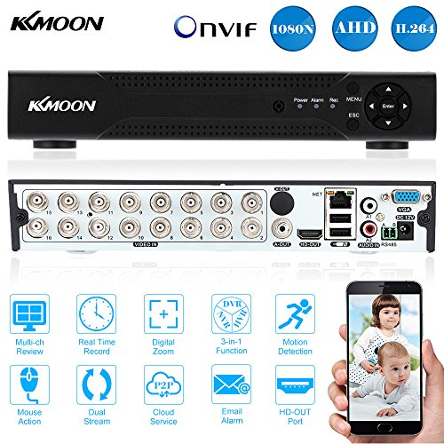 KKmoon 16CH Plein 1080N / 720P AHD DVR HVR NVR HDMI P2P Cloud Network ONVIF  Digital Video Recorder Support du Disque dur de Plug and Play Android /