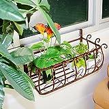 AIDELAI Blumenständer- Europäischen Stil Eisen Balkon Geländer Hängen Blumentöpfe Indoor Wohnzimmer Freies Lochblech Wandregal (Farbe : Brown, größe : 100 * 28 * 22cm)