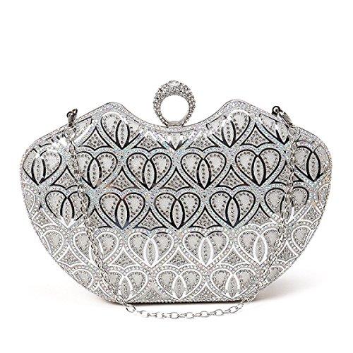 FZHLY Sacchetto Di Sera Del Diamante Delle Signore Di Modo,Silver Silver
