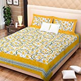 Bright Cotton Double Bed Sheet Cotton Ye...